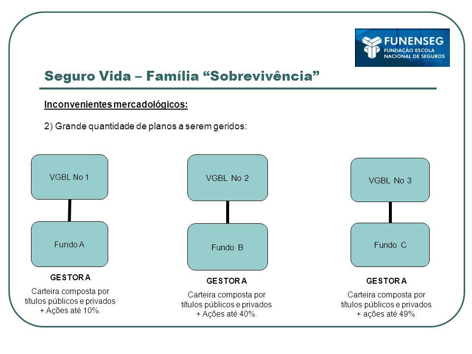 Seguro Vida – Família Sobrevivência Inconvenientes mercadológicos: 2) Grande quantidade de planos a serem geridos: VGBL No 2 Fundo B GESTOR A Carteira composta por títulos públicos e privados + Ações até 10%.
