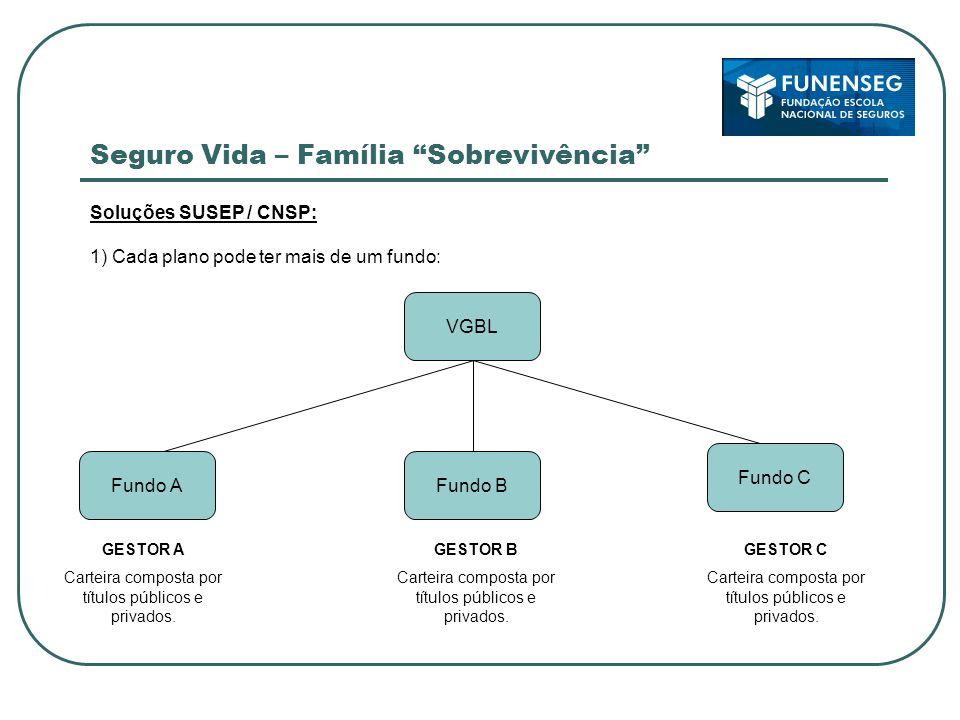 Seguro Vida – Família Sobrevivência Soluções SUSEP / CNSP: 1) Cada plano pode ter mais de um fundo: GESTOR A Carteira composta por títulos públicos e privados.