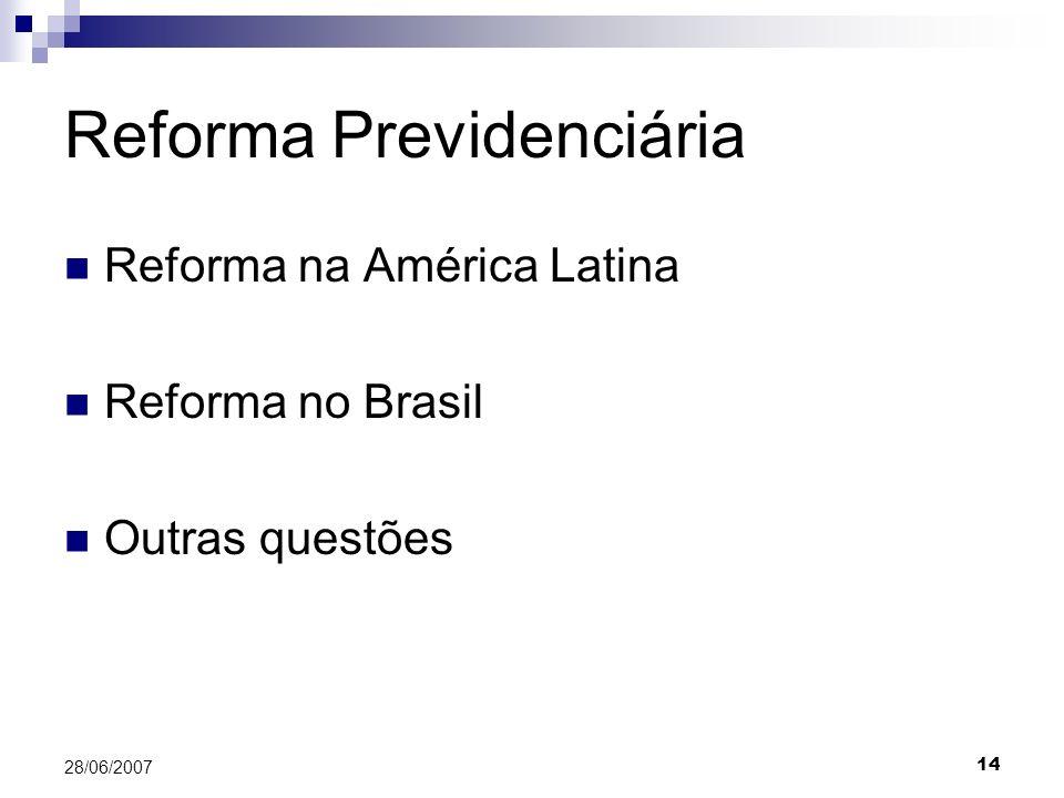 14 28/06/2007 Reforma Previdenciária Reforma na América Latina Reforma no Brasil Outras questões