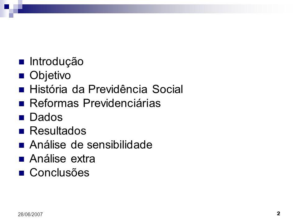 2 28/06/2007 Introdução Objetivo História da Previdência Social Reformas Previdenciárias Dados Resultados Análise de sensibilidade Análise extra Conclusões