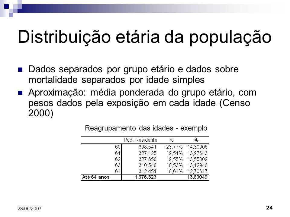 24 28/06/2007 Distribuição etária da população Dados separados por grupo etário e dados sobre mortalidade separados por idade simples Aproximação: média ponderada do grupo etário, com pesos dados pela exposição em cada idade (Censo 2000) Reagrupamento das idades - exemplo