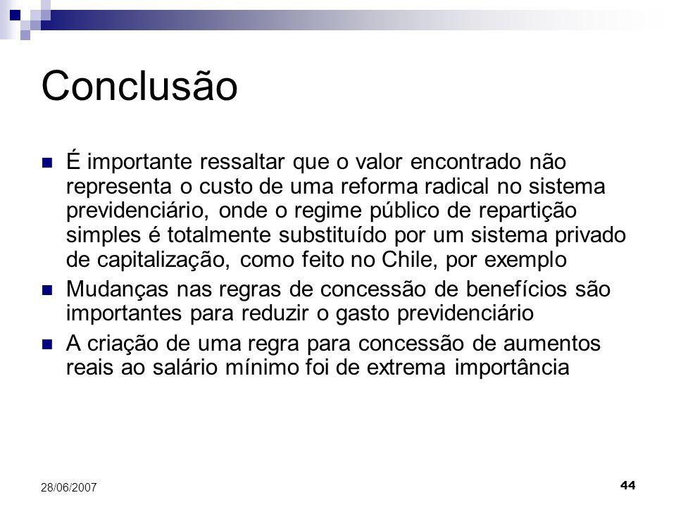 44 28/06/2007 Conclusão É importante ressaltar que o valor encontrado não representa o custo de uma reforma radical no sistema previdenciário, onde o