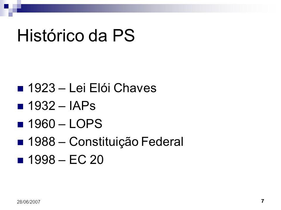 7 28/06/2007 Histórico da PS 1923 – Lei Elói Chaves 1932 – IAPs 1960 – LOPS 1988 – Constituição Federal 1998 – EC 20