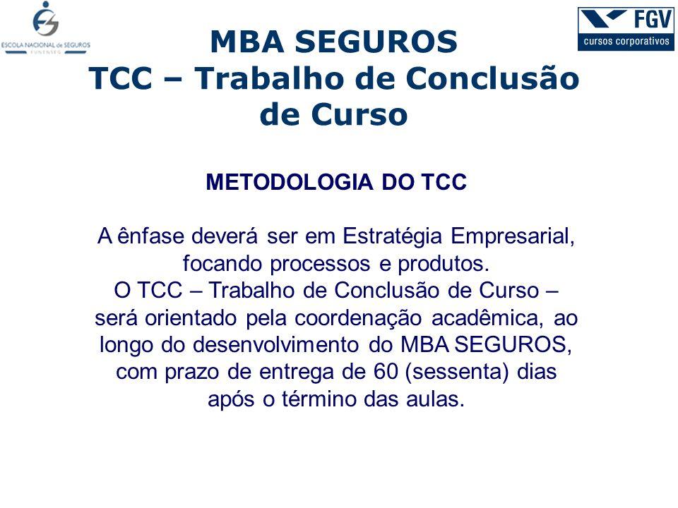 MBA SEGUROS TCC – Trabalho de Conclusão de Curso METODOLOGIA DO TCC A ênfase deverá ser em Estratégia Empresarial, focando processos e produtos. O TCC