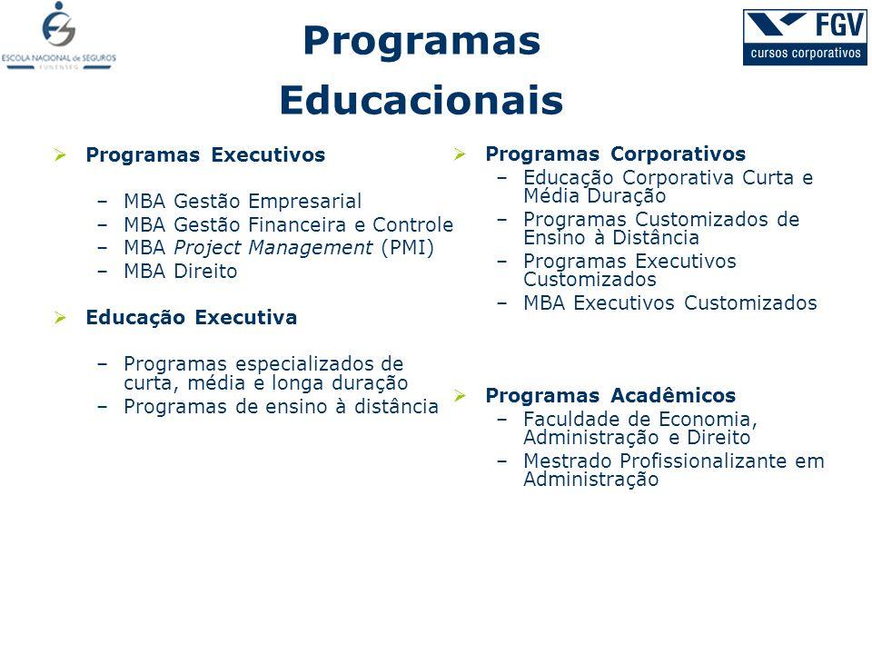 Programas Executivos –MBA Gestão Empresarial –MBA Gestão Financeira e Controle –MBA Project Management (PMI) –MBA Direito Educação Executiva –Programa
