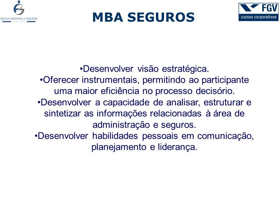 MBA SEGUROS Desenvolver visão estratégica. Oferecer instrumentais, permitindo ao participante uma maior eficiência no processo decisório. Desenvolver