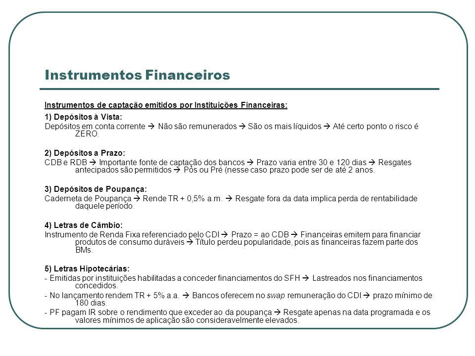 Instrumentos Financeiros Instrumentos de captação emitidos por Instituições Financeiras: 1) Depósitos à Vista: Depósitos em conta corrente Não são rem