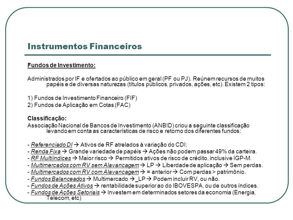 Instrumentos Financeiros Fundos de Investimento: Administrados por IF e ofertados ao público em geral (PF ou PJ). Reúnem recursos de muitos papéis e d