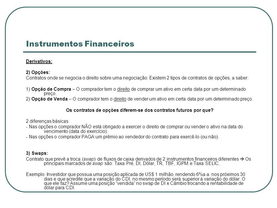 Instrumentos Financeiros Derivativos: 2) Opções: Contratos onde se negocia o direito sobre uma negociação. Existem 2 tipos de contratos de opções, a s