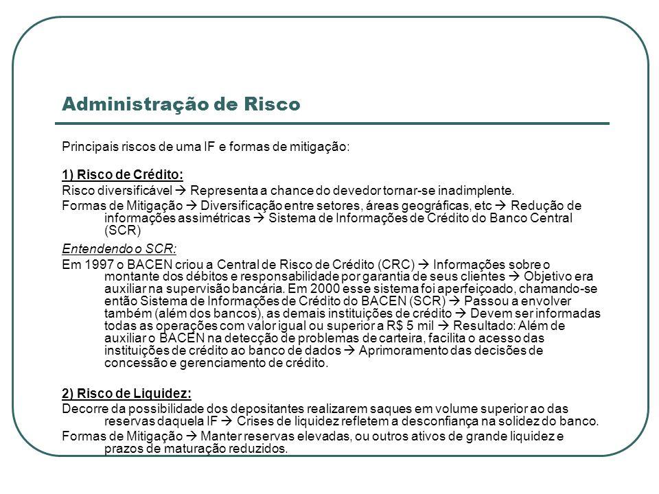 Administração de Risco Principais riscos de uma IF e formas de mitigação: 1) Risco de Crédito: Risco diversificável Representa a chance do devedor tor