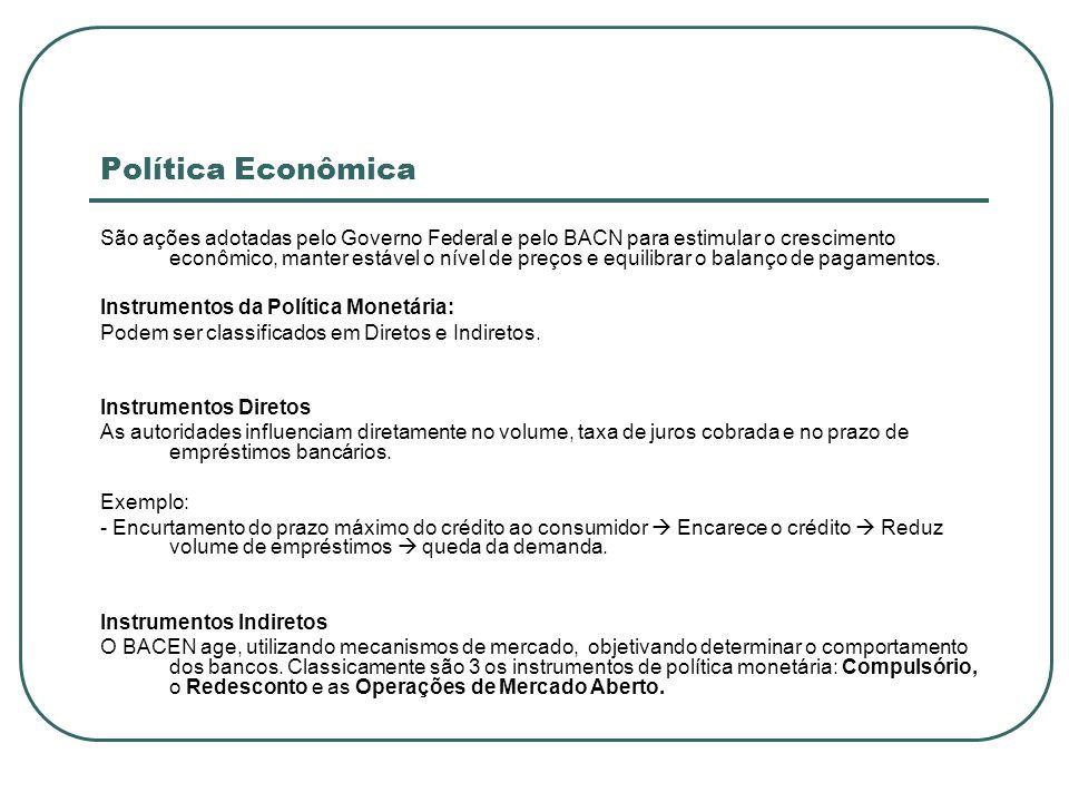 Política Econômica São ações adotadas pelo Governo Federal e pelo BACN para estimular o crescimento econômico, manter estável o nível de preços e equi