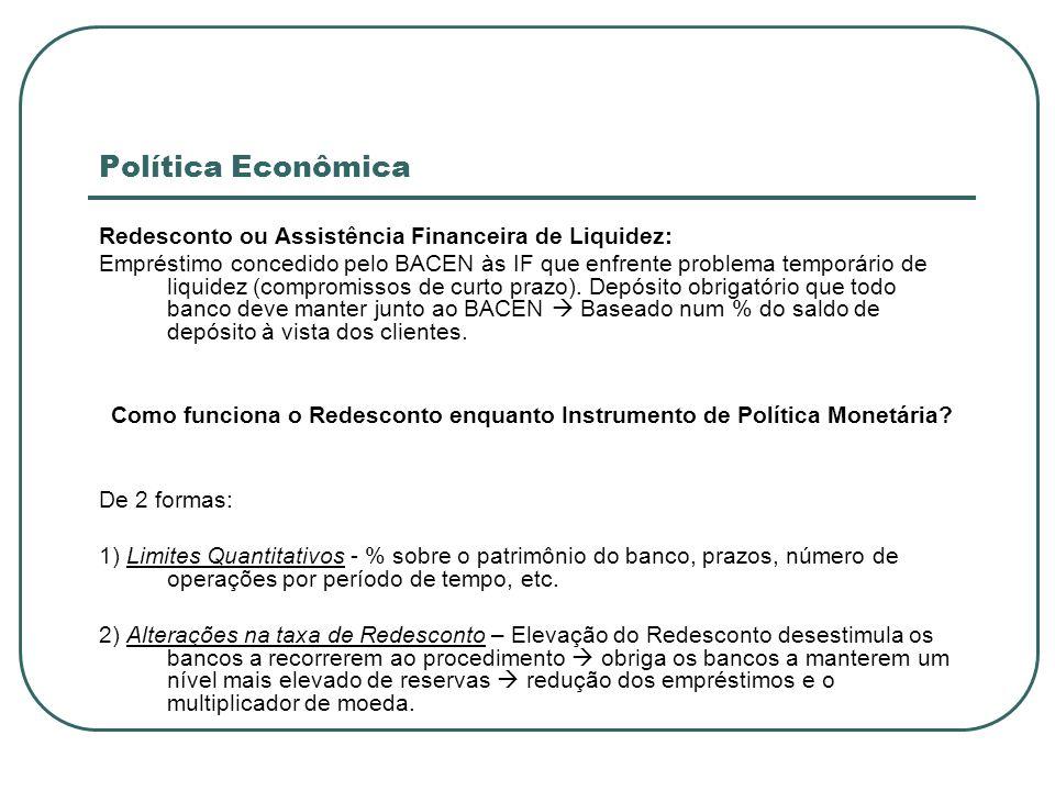 Política Econômica Redesconto ou Assistência Financeira de Liquidez: Empréstimo concedido pelo BACEN às IF que enfrente problema temporário de liquide