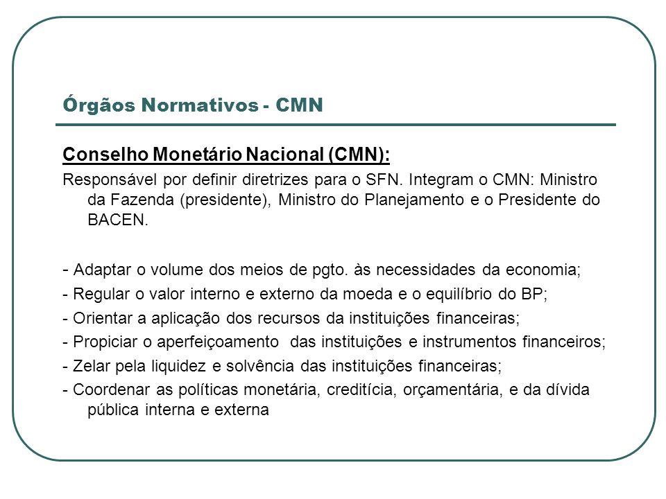 Órgãos Normativos - CMN Conselho Monetário Nacional (CMN): Responsável por definir diretrizes para o SFN. Integram o CMN: Ministro da Fazenda (preside