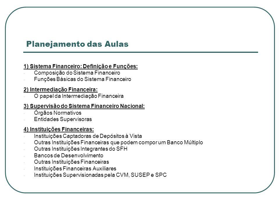 Planejamento das Aulas 5) Mercados Financeiros: - Mercado Monetário - Mercado de Capitais - Mercado de Crédito - Mercado de Câmbio 6) Instrumentos Financeiros: - Características dos Instrumentos Financeiros - Instrumentos de Captação Emitidos por Inst.