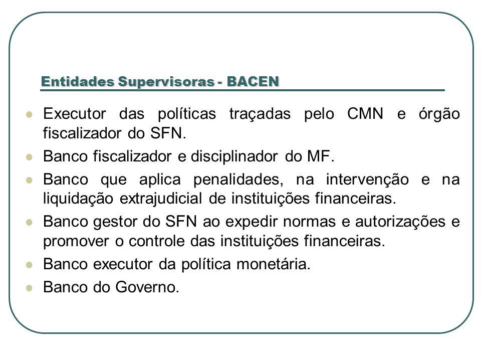 Entidades Supervisoras - BACEN Executor das políticas traçadas pelo CMN e órgão fiscalizador do SFN. Banco fiscalizador e disciplinador do MF. Banco q