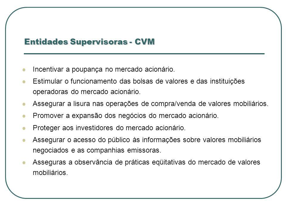 Entidades Supervisoras - CVM Incentivar a poupança no mercado acionário. Estimular o funcionamento das bolsas de valores e das instituições operadoras