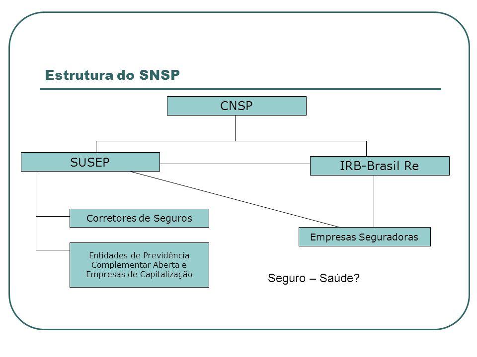 Estrutura do SNSP CNSP IRB-Brasil Re SUSEP Corretores de Seguros Entidades de Previdência Complementar Aberta e Empresas de Capitalização Empresas Seg