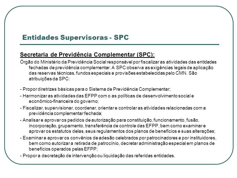 Entidades Supervisoras - SPC Secretaria de Previdência Complementar (SPC): Órgão do Ministério da Previdência Social responsável por fiscalizar as ati