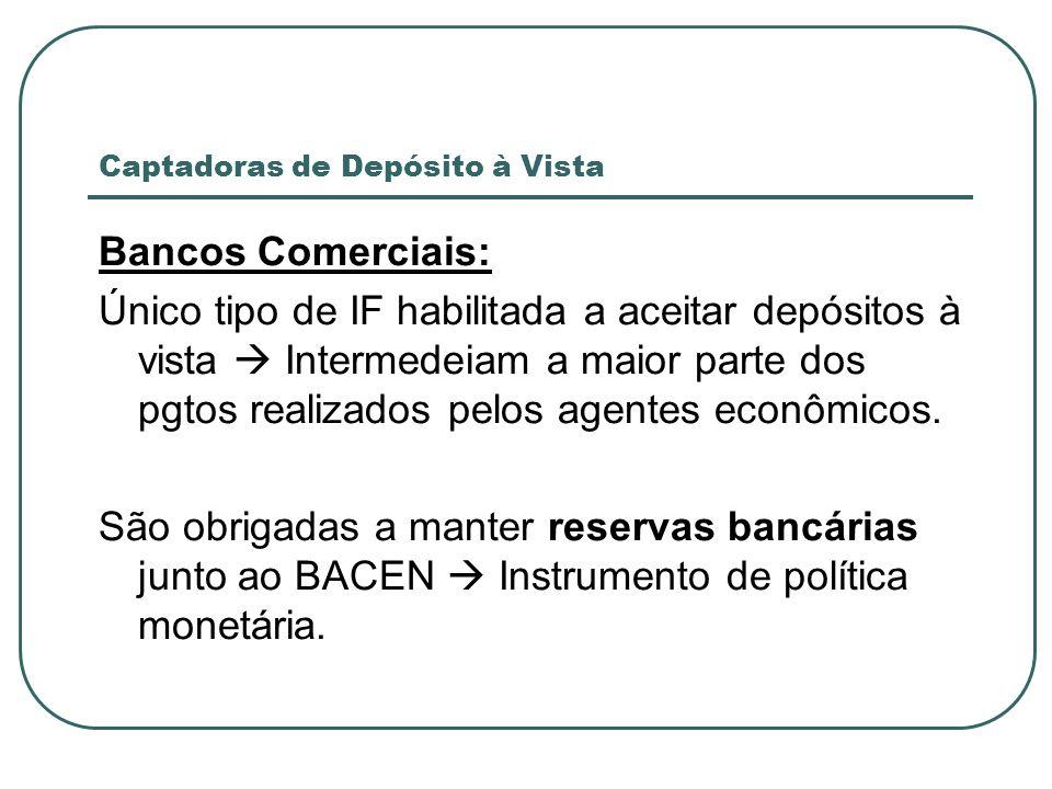Captadoras de Depósito à Vista Bancos Comerciais: Único tipo de IF habilitada a aceitar depósitos à vista Intermedeiam a maior parte dos pgtos realiza