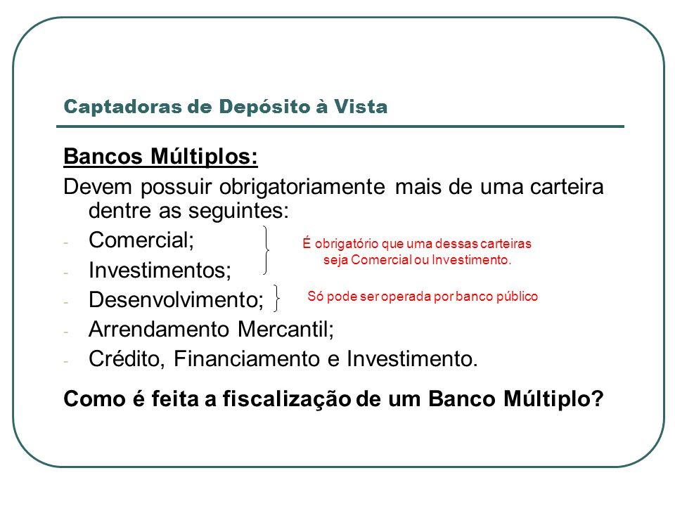Captadoras de Depósito à Vista Bancos Múltiplos: Devem possuir obrigatoriamente mais de uma carteira dentre as seguintes: - Comercial; - Investimentos