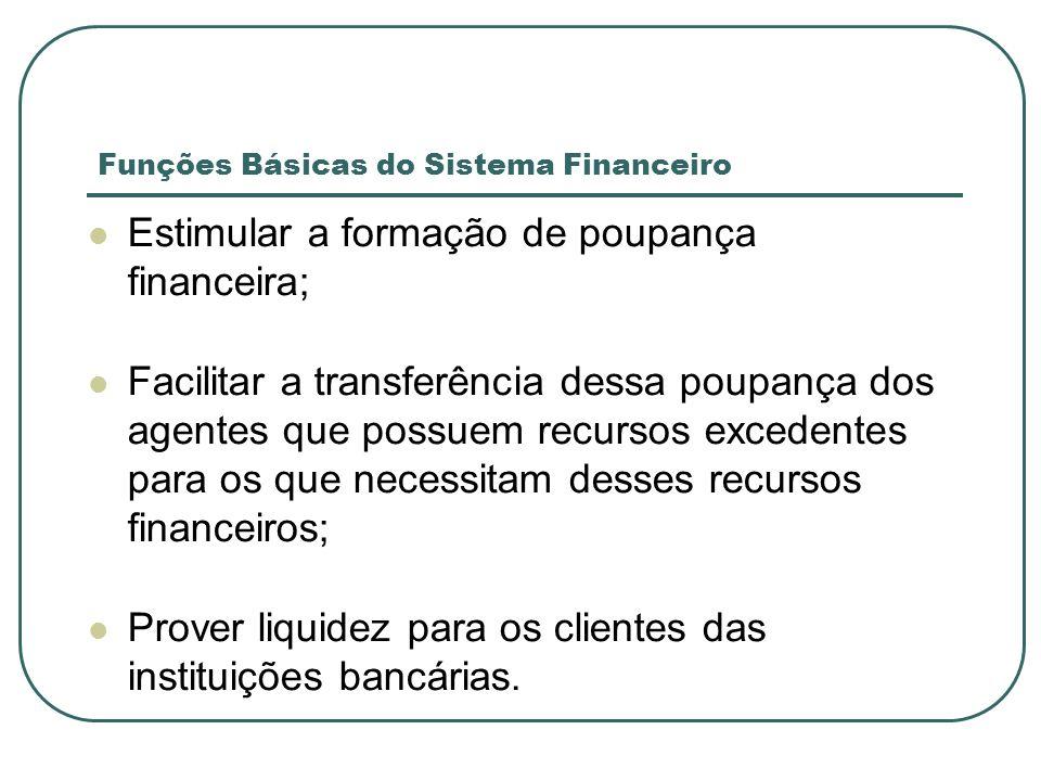 Funções Básicas do Sistema Financeiro Estimular a formação de poupança financeira; Facilitar a transferência dessa poupança dos agentes que possuem re