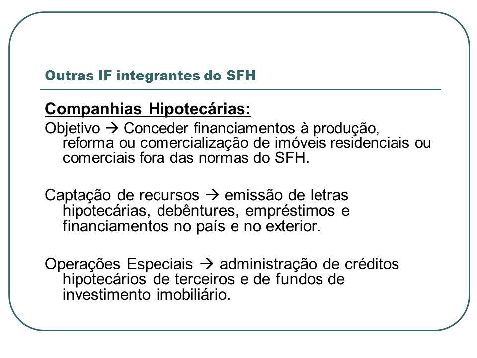 Outras IF integrantes do SFH Companhias Hipotecárias: Objetivo Conceder financiamentos à produção, reforma ou comercialização de imóveis residenciais