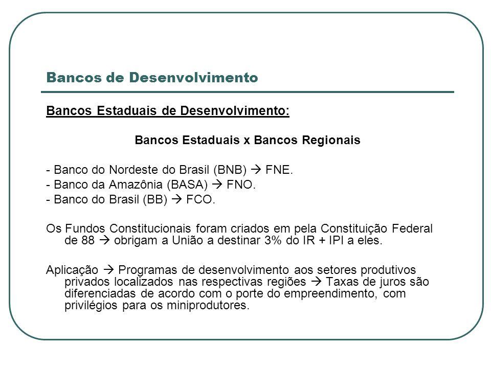 Bancos de Desenvolvimento Bancos Estaduais de Desenvolvimento: Bancos Estaduais x Bancos Regionais - Banco do Nordeste do Brasil (BNB) FNE. - Banco da