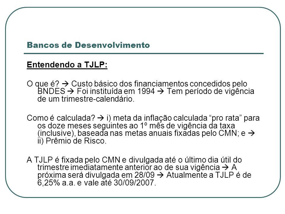 Bancos de Desenvolvimento Entendendo a TJLP: O que é? Custo básico dos financiamentos concedidos pelo BNDES Foi instituída em 1994 Tem período de vigê