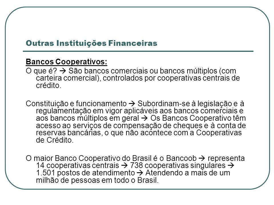 Outras Instituições Financeiras Bancos Cooperativos: O que é? São bancos comerciais ou bancos múltiplos (com carteira comercial), controlados por coop