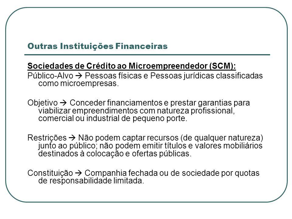 Outras Instituições Financeiras Sociedades de Crédito ao Microempreendedor (SCM): Público-Alvo Pessoas físicas e Pessoas jurídicas classificadas como
