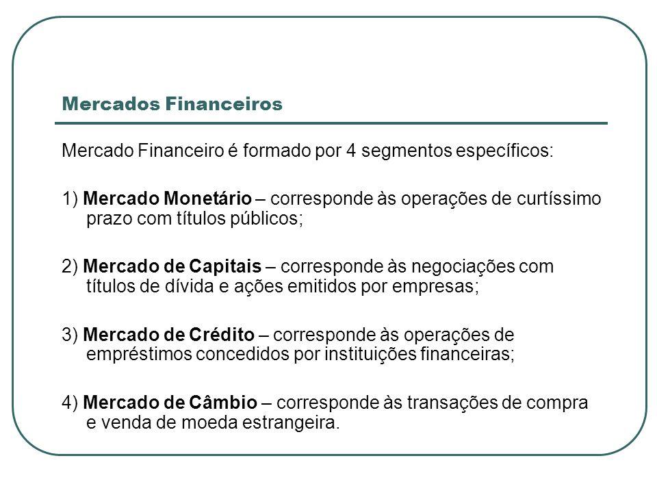 Mercados Financeiros Mercado Financeiro é formado por 4 segmentos específicos: 1) Mercado Monetário – corresponde às operações de curtíssimo prazo com