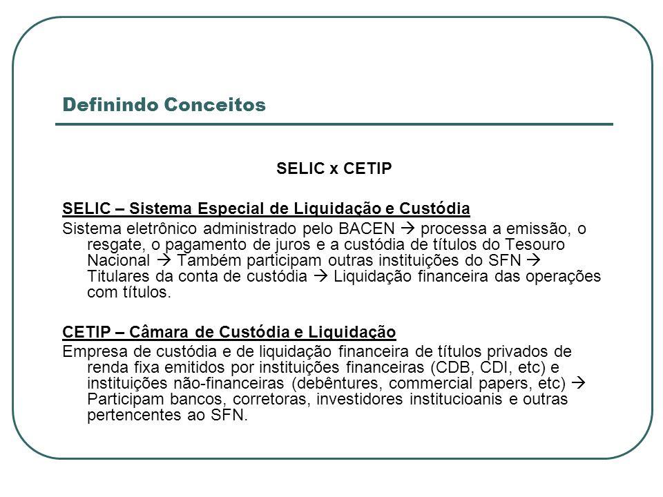 Definindo Conceitos SELIC x CETIP SELIC – Sistema Especial de Liquidação e Custódia Sistema eletrônico administrado pelo BACEN processa a emissão, o r
