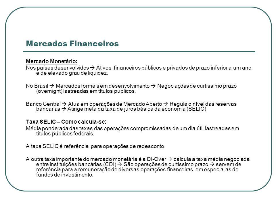 Mercados Financeiros Mercado Monetário: Nos países desenvolvidos Ativos financeiros públicos e privados de prazo inferior a um ano e de elevado grau d