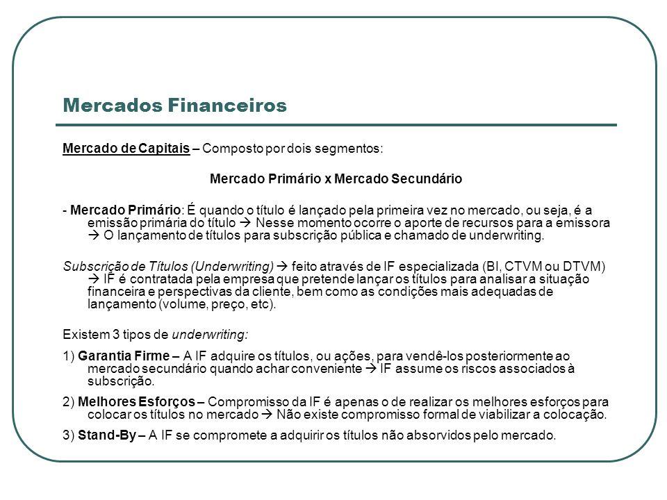 Mercados Financeiros Mercado de Capitais – Composto por dois segmentos: Mercado Primário x Mercado Secundário - Mercado Primário: É quando o título é