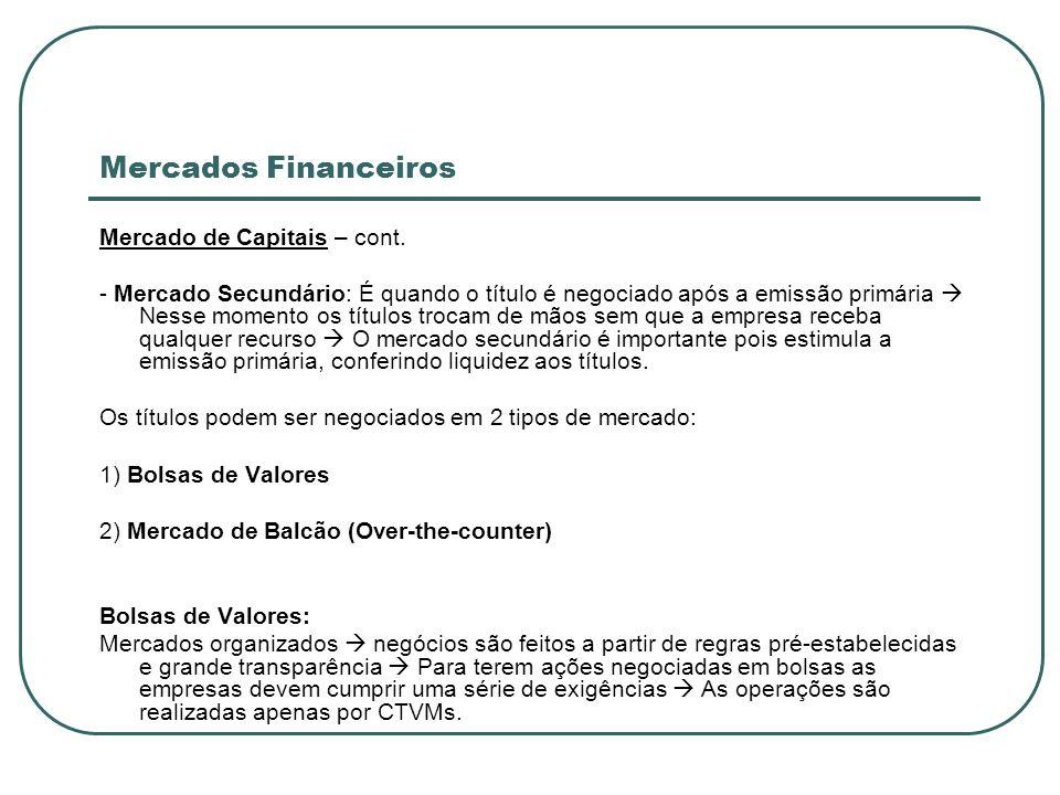 Mercados Financeiros Mercado de Capitais – cont. - Mercado Secundário: É quando o título é negociado após a emissão primária Nesse momento os títulos