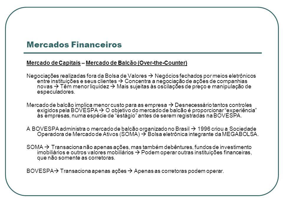 Mercados Financeiros Mercado de Capitais – Mercado de Balcão (Over-the-Counter) Negociações realizadas fora da Bolsa de Valores Negócios fechados por