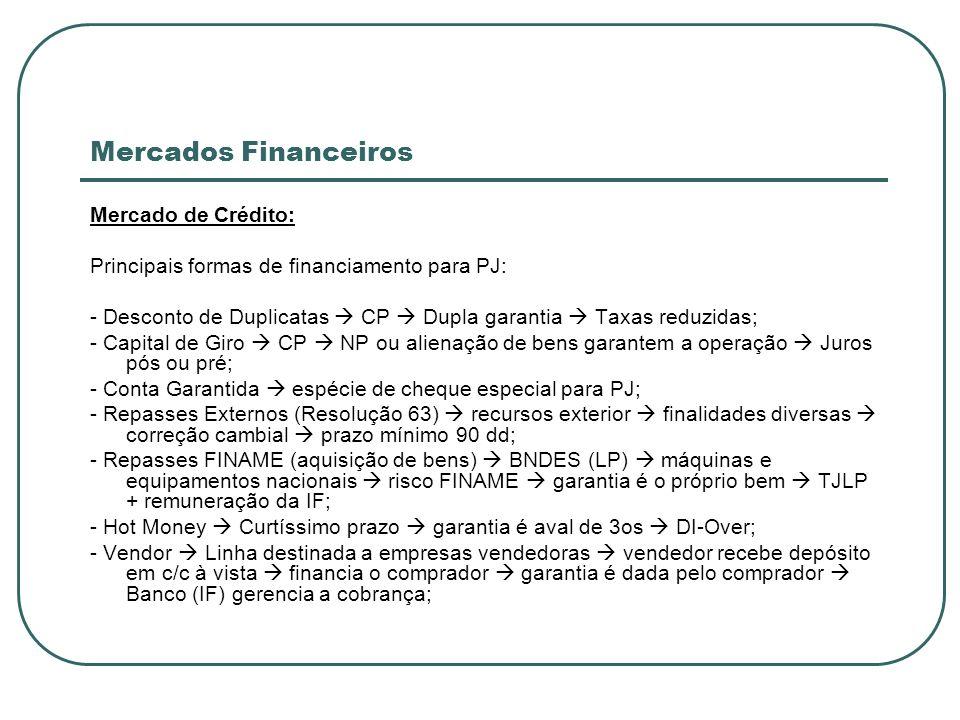 Mercados Financeiros Mercado de Crédito: Principais formas de financiamento para PJ: - Desconto de Duplicatas CP Dupla garantia Taxas reduzidas; - Cap