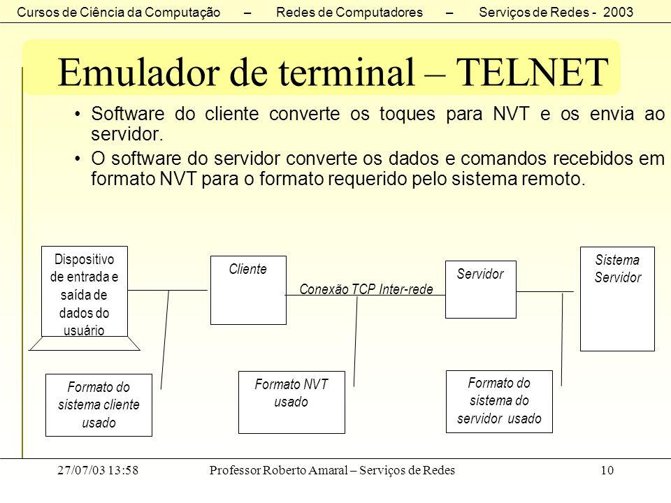 Cursos de Ciência da Computação – Redes de Computadores – Serviços de Redes - 2003 27/07/03 13:58Professor Roberto Amaral – Serviços de Redes10 Emulad