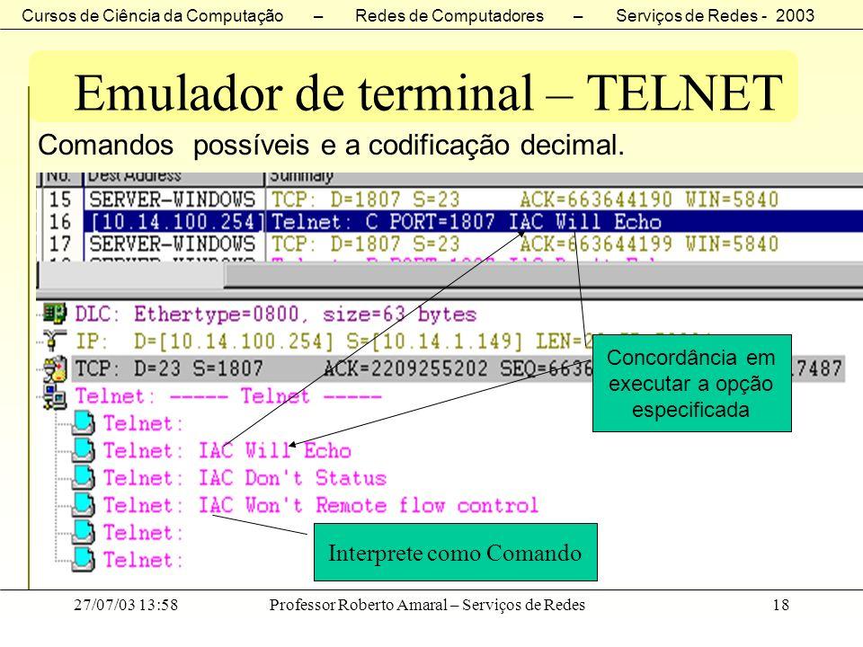 Cursos de Ciência da Computação – Redes de Computadores – Serviços de Redes - 2003 27/07/03 13:58Professor Roberto Amaral – Serviços de Redes18 Emulad