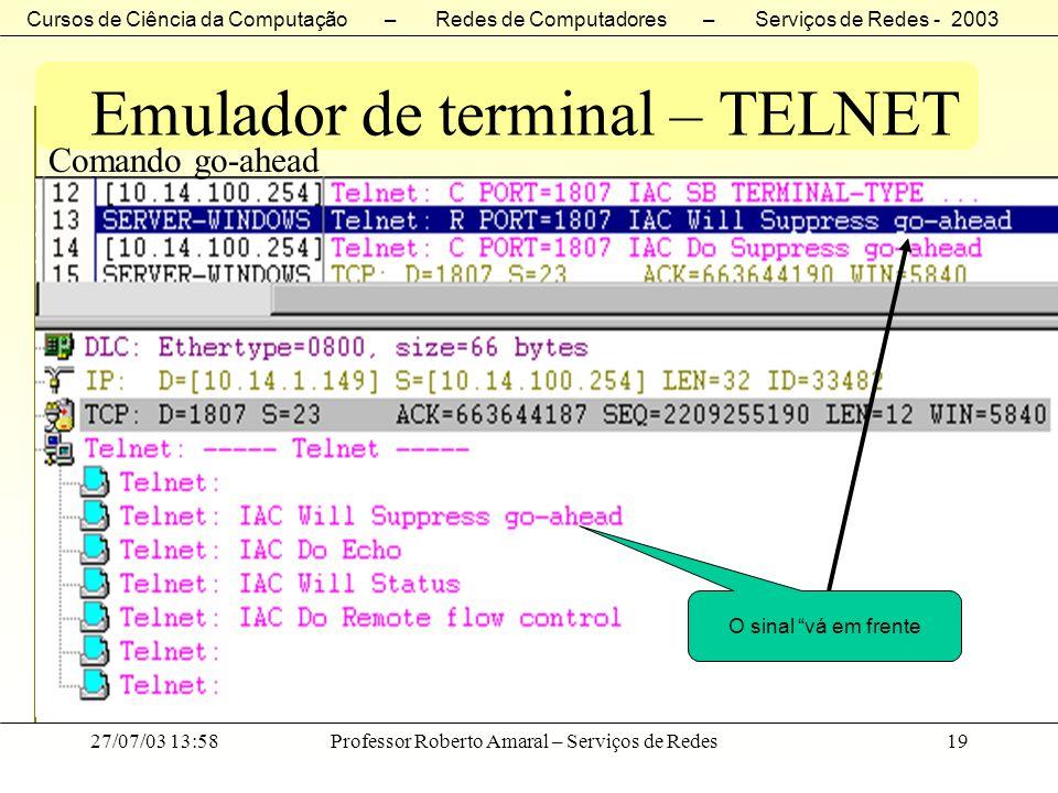 Cursos de Ciência da Computação – Redes de Computadores – Serviços de Redes - 2003 27/07/03 13:58Professor Roberto Amaral – Serviços de Redes19 Emulad