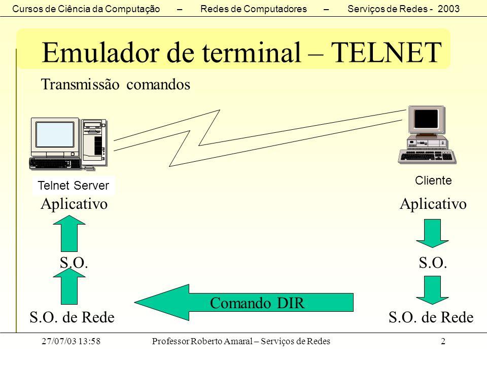 Cursos de Ciência da Computação – Redes de Computadores – Serviços de Redes - 2003 27/07/03 13:58Professor Roberto Amaral – Serviços de Redes3 Emulador de terminal – TELNET Transmissão de teclas