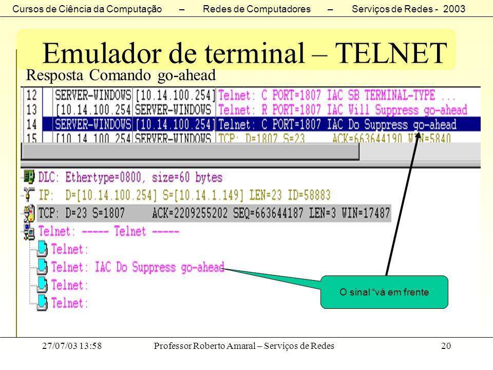 Cursos de Ciência da Computação – Redes de Computadores – Serviços de Redes - 2003 27/07/03 13:58Professor Roberto Amaral – Serviços de Redes20 Emulad