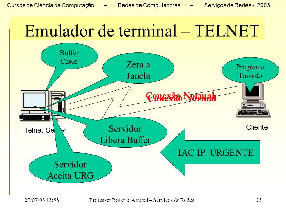 Cursos de Ciência da Computação – Redes de Computadores – Serviços de Redes - 2003 27/07/03 13:58Professor Roberto Amaral – Serviços de Redes23 Emulad