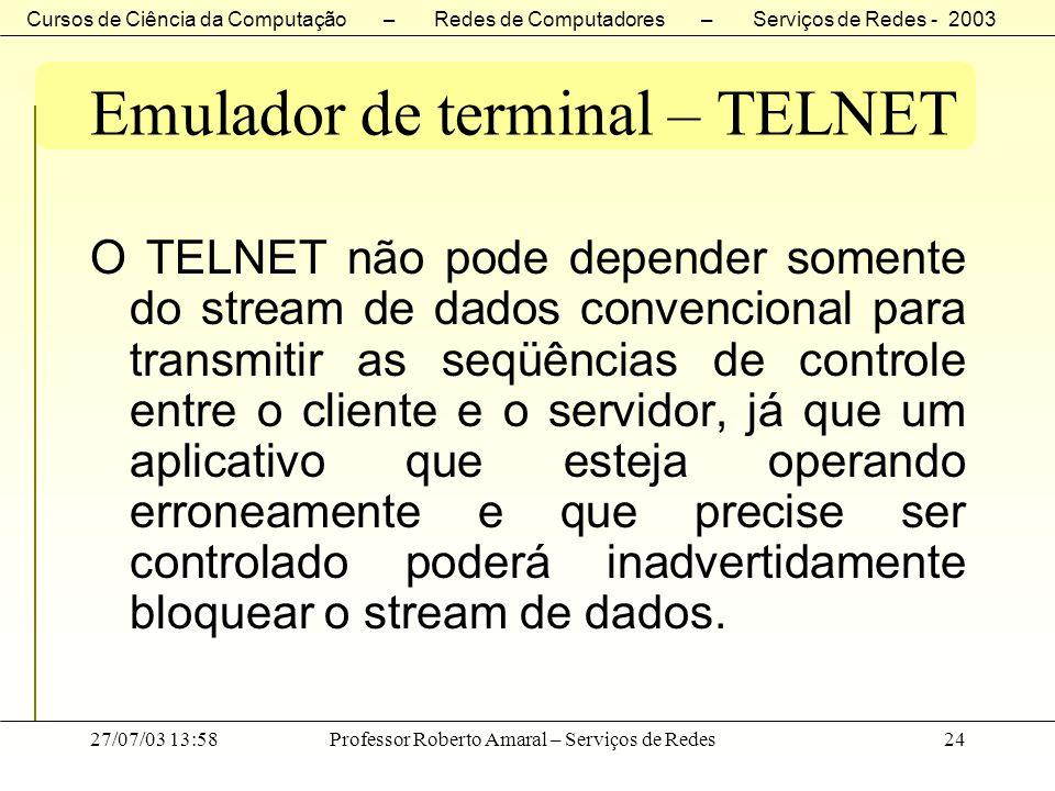 Cursos de Ciência da Computação – Redes de Computadores – Serviços de Redes - 2003 27/07/03 13:58Professor Roberto Amaral – Serviços de Redes24 Emulad