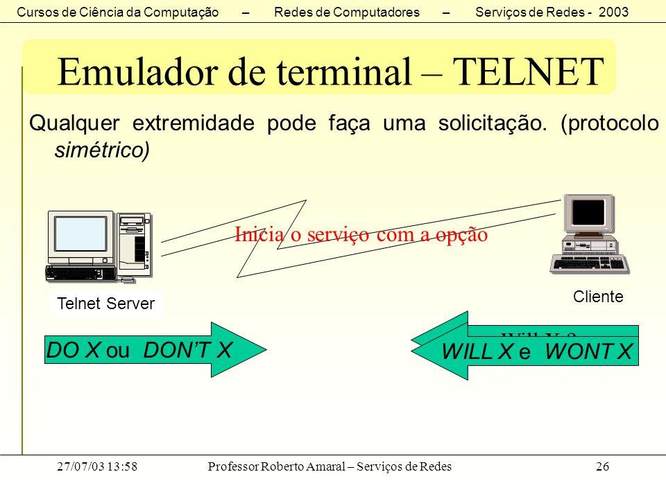 Cursos de Ciência da Computação – Redes de Computadores – Serviços de Redes - 2003 27/07/03 13:58Professor Roberto Amaral – Serviços de Redes26 Emulad