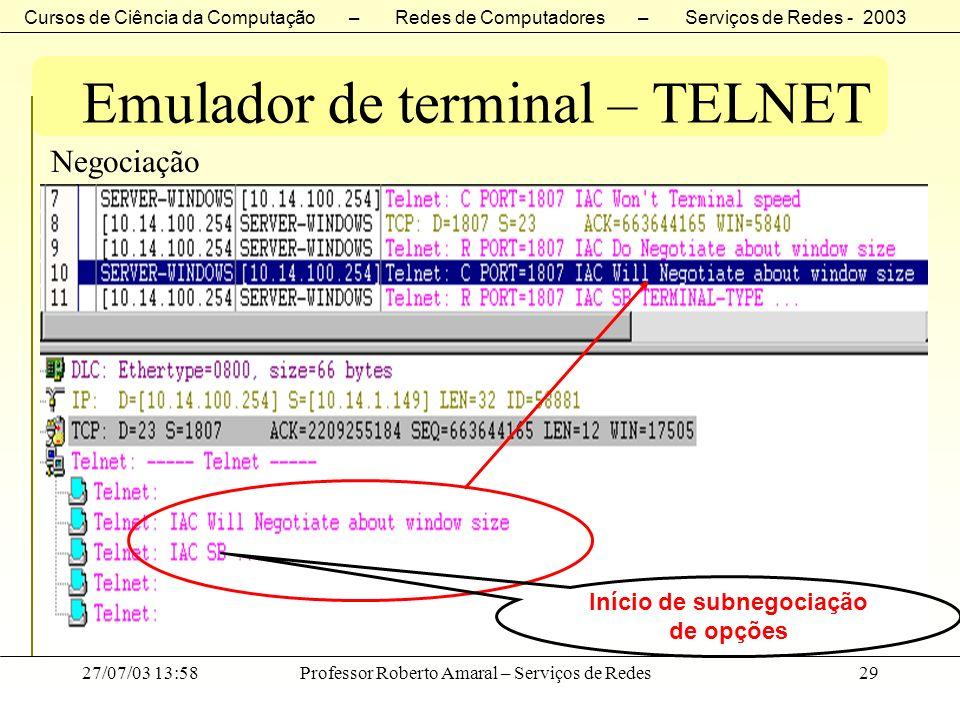 Cursos de Ciência da Computação – Redes de Computadores – Serviços de Redes - 2003 27/07/03 13:58Professor Roberto Amaral – Serviços de Redes29 Emulad