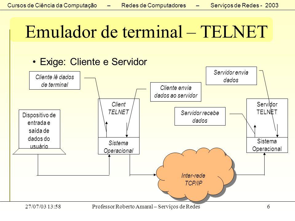 Cursos de Ciência da Computação – Redes de Computadores – Serviços de Redes - 2003 27/07/03 13:58Professor Roberto Amaral – Serviços de Redes27 Emulador de terminal – TELNET Negociação