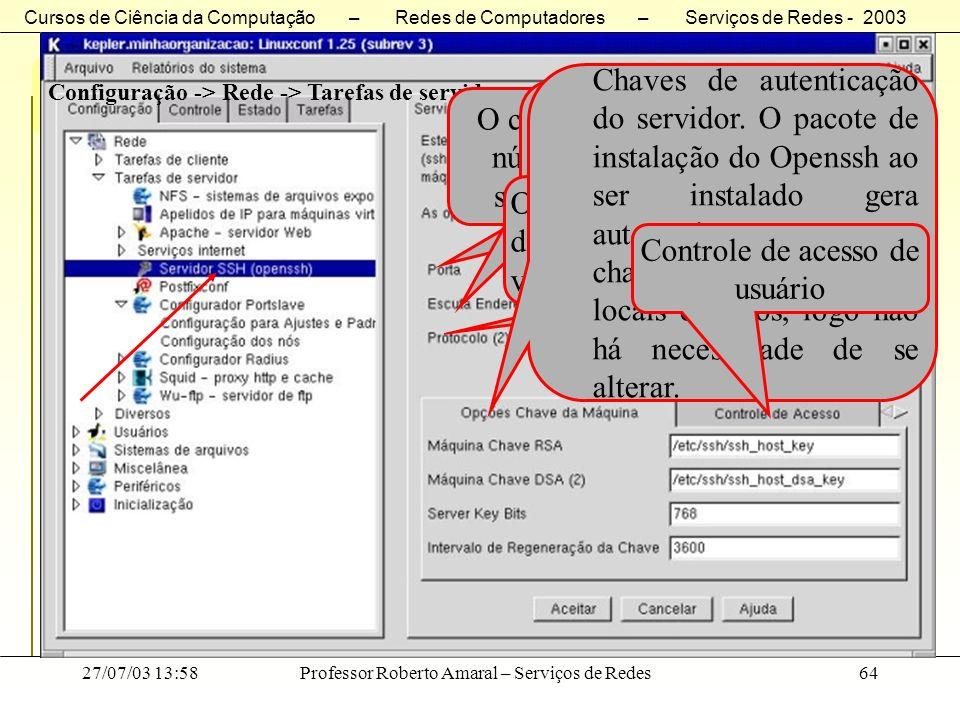 Cursos de Ciência da Computação – Redes de Computadores – Serviços de Redes - 2003 27/07/03 13:58Professor Roberto Amaral – Serviços de Redes64 Server