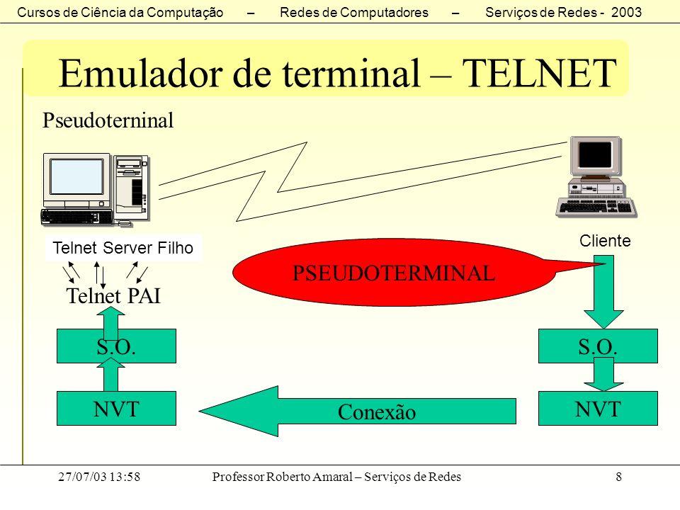 Cursos de Ciência da Computação – Redes de Computadores – Serviços de Redes - 2003 27/07/03 13:58Professor Roberto Amaral – Serviços de Redes9 Emulador de terminal – TELNET TELNET - Interoperacional entre o maior número possível de sistemas –carriage control (CR) –linefeed (LF) –CR-LF Para acomodar esta heterogeneidade, o TELNET define como as seqüências de dados e de comandos são enviadas através da Internet.