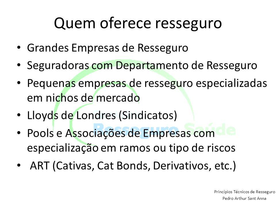 Quem oferece resseguro Grandes Empresas de Resseguro Seguradoras com Departamento de Resseguro Pequenas empresas de resseguro especializadas em nichos